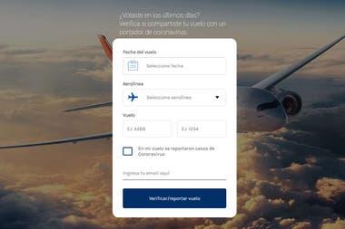 Check My Virus Risk - это сайт, созданный аргентинцами, который указывает, есть ли зарегистрированный случай заражения коронавирусом на конкретном рейсе