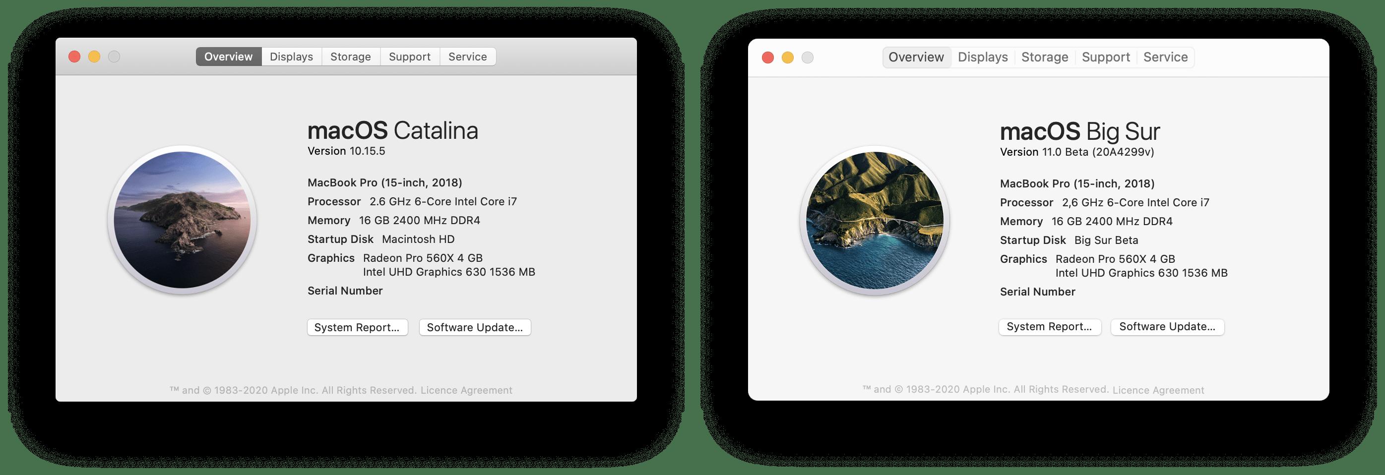 macOS Big Sur каталиновые окна