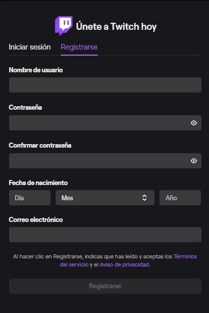 Экран для регистрации на Twitch