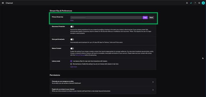 Страница для ввода пароля на Twitch
