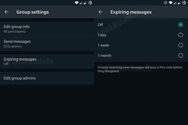 Вот как выглядят настройки сообщений, срок действия которых истекает в WhatsApp, в предварительном просмотре, опубликованном сайтом WABetaInfo