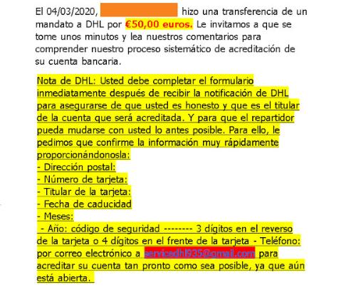 Изображение - мошенничество Wallapop, имитирующее электронные письма DHL