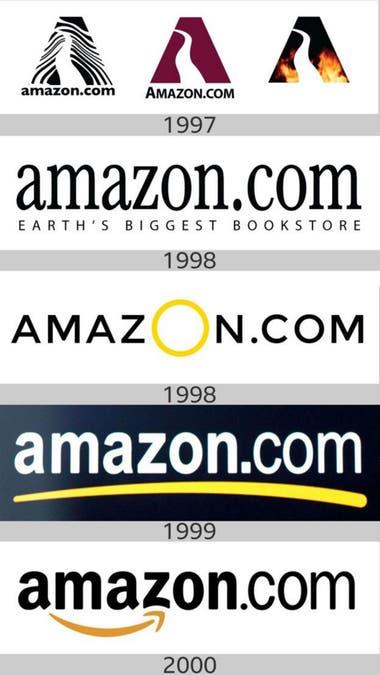 Amazon логотипы на протяжении многих лет