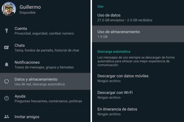 Параметр «Данные и хранение», доступный в настройках WhatsApp, показывает, сколько места используется на телефоне.